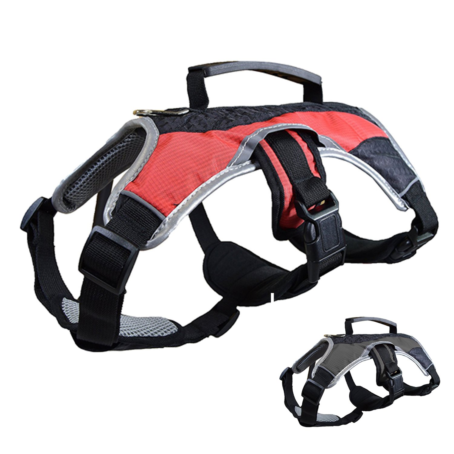 Red Medium (22\ Red Medium (22\ Peak Pooch Dog Support Harness Vest, No Pull with Reflective Trim and Padded Comfort Red, Medium