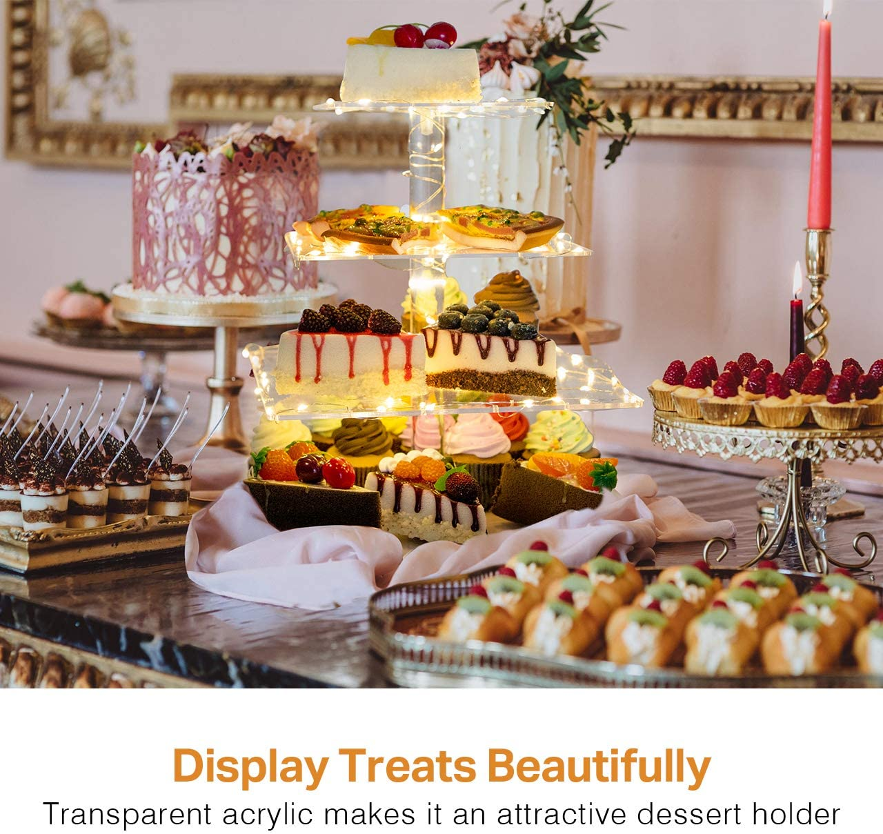 Kootek 2 Pack 4 Tier Acrylic Cupcake Stand with 8 Pcs LED String Lights Dessert Tower Tiered Tree Square Cake Display Stands Pastry Serving Platter for Party Wedding Birthday Holidays Buffets