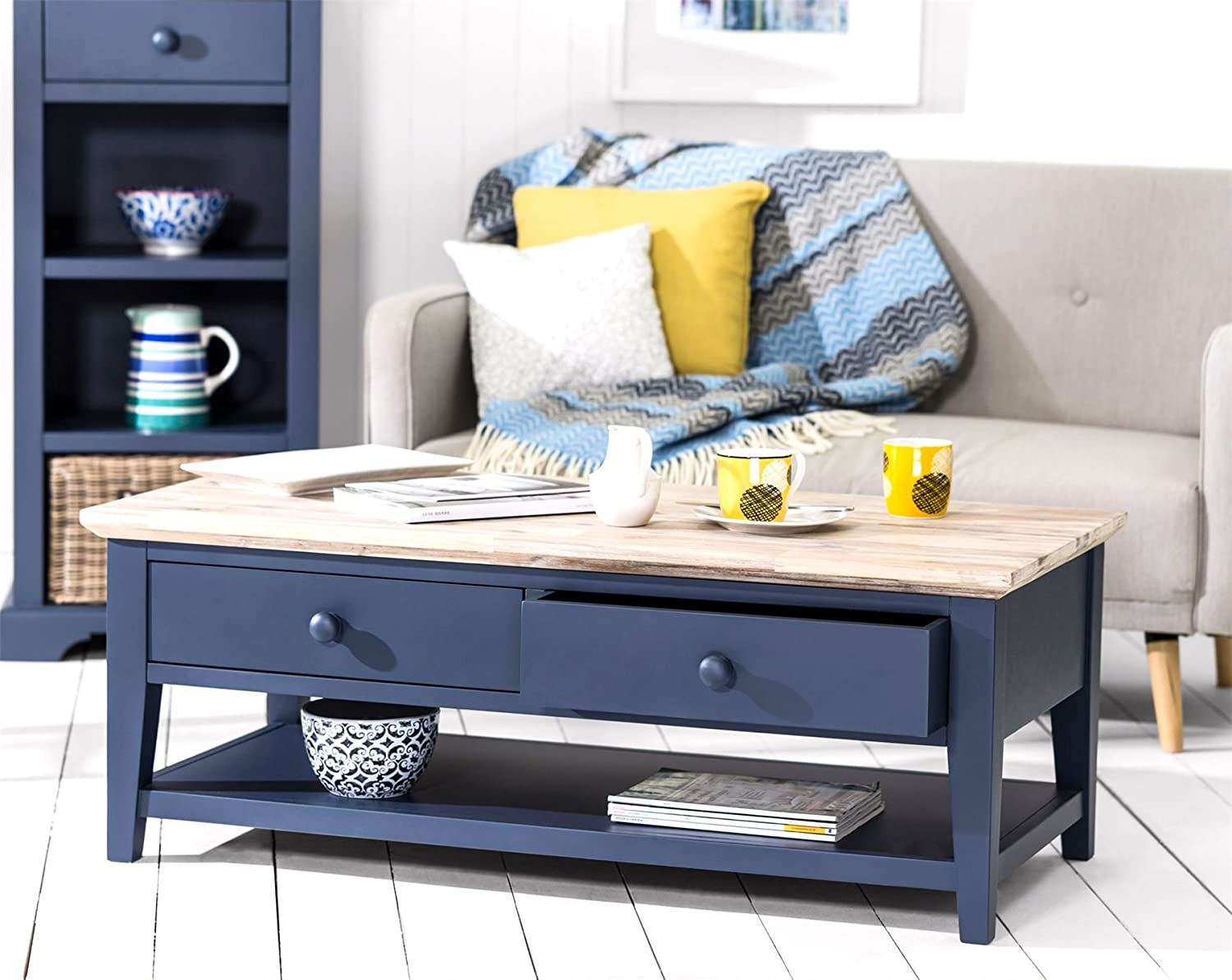 florence navy blue coffee table large coffee table with 2 drawers and shelf fully assembled sofa table with acacia top