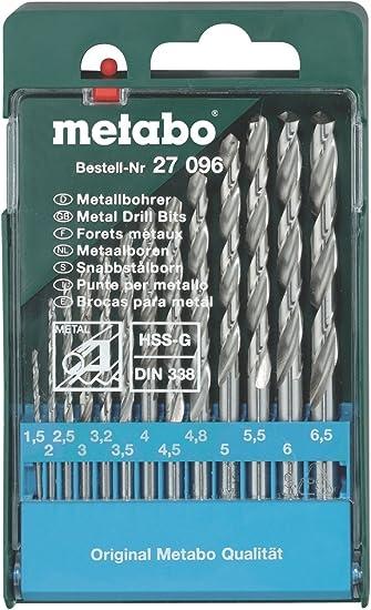 Metabo 627096000 627096000-Estuche 13 Brocas para Metal HSS-G 1,5/2 /2,5/3 /3,2/3, 4,5/4,8/5 /5,5/6 /6,5 mm: Amazon.es: Bricolaje y herramientas