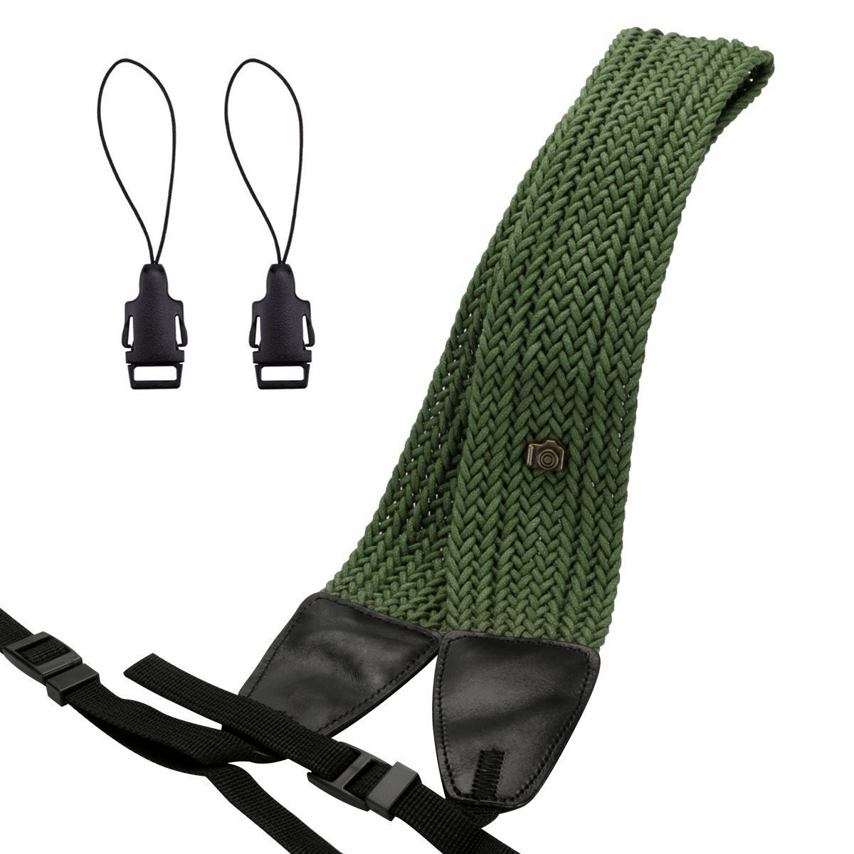Eggsnow Camera Shoulder Neck Strap Knit Broaden Universal Camera Belt Strap with Connect Buckle for Women Men All DSLR SLR Nikon Canon Sony Olympus Pentax Samsung(Upgraded)-Green
