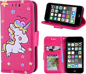 iPod Touch 5/6 Case Wallet Phone Case PU Leather Kickstand Card Slot Premium Flip Cover Fashionable for Apple 4 inch, Unicorn Red
