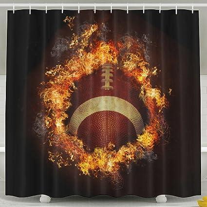 Jfiugjboihdf Cool Fire Football Shower Curtain Waterproof Decorative Bathroom Curtains