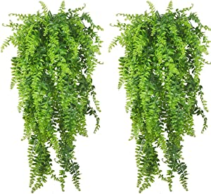 PINVNBY Reptile Plants Hanging Fake Vines Boston Climbing Terrarium Plant with Suction Cup for Bearded Dragons Lizards Geckos Snake Pets Hermit Crab and Tank Habitat Decorations