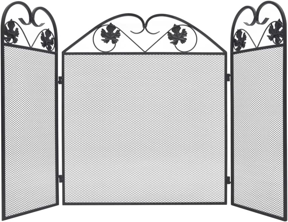 Nishore Biombo Diseño 3 Paneles Estilo Clásico Pantalla de Chimenea Diseño Plegable Elegante Decoración Negra 102 x 61 cm
