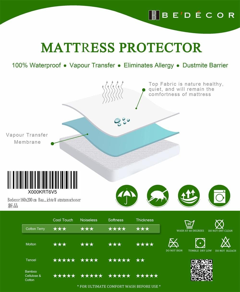 Small Cot Size 60x120cm Bedecor Breathable Waterproof Mattress Protector Mattress Cover with Corner Straps Terry Towelling