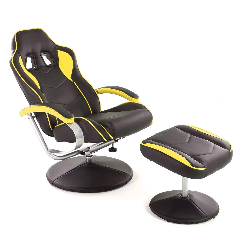 MACOShopde by MACO Möbel Racing TV Sessel mit Hocker aus Kunstleder in Schwarz-Gelb ergonomisch Geformt kippbar und 360° Drehbar