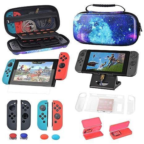 Estuche para Nintendo Switch con 40 cartuchos de juego, juego de manijas de silicona, película templada, soporte de host, consola portátil protectora de carcasa dura y accesorios: Amazon.es: Videojuegos