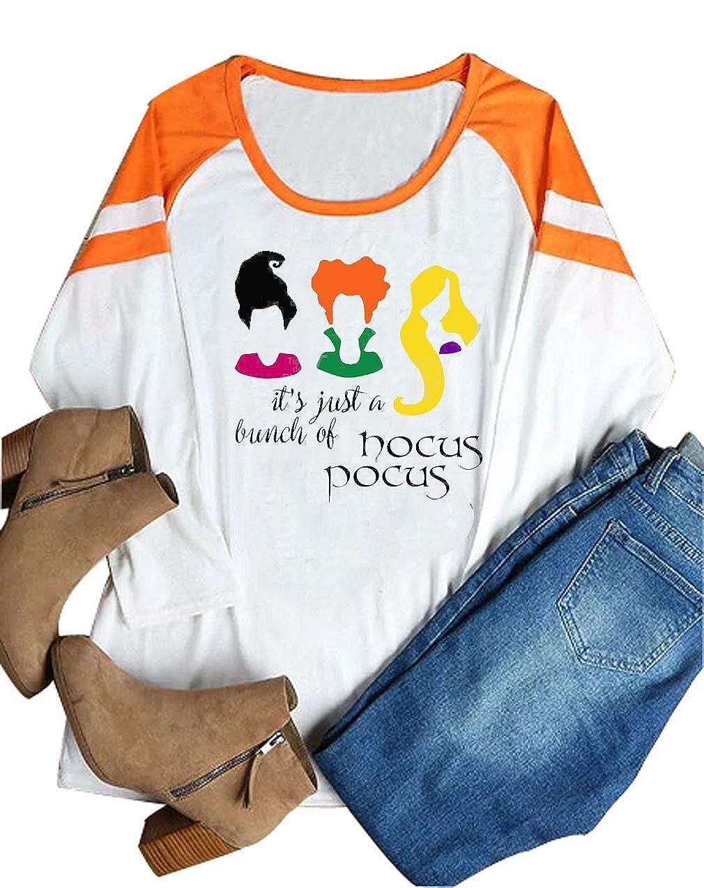 orange YUYUEYUE It's Just A Bunch of Hocus Pocus Shirt Women Halloween Sanderson Sisters Cute Top Tee