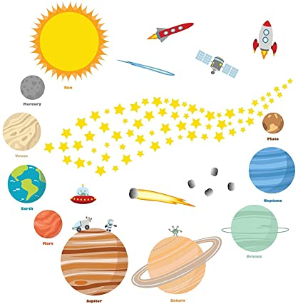 Educational Solar System Wall Decals U2013 Fun Planets In Space Wall Stickers U2013  Space Exploration By
