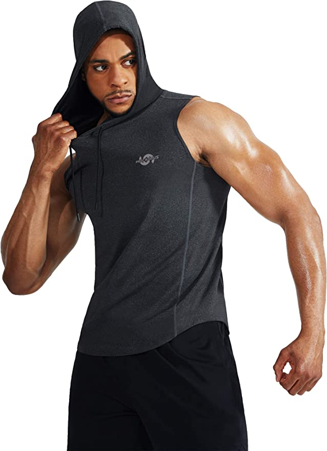 Cadmus Mens Workout Gym Muscle Tank Top with Hooded Shirt Sleeveless 2 Packs