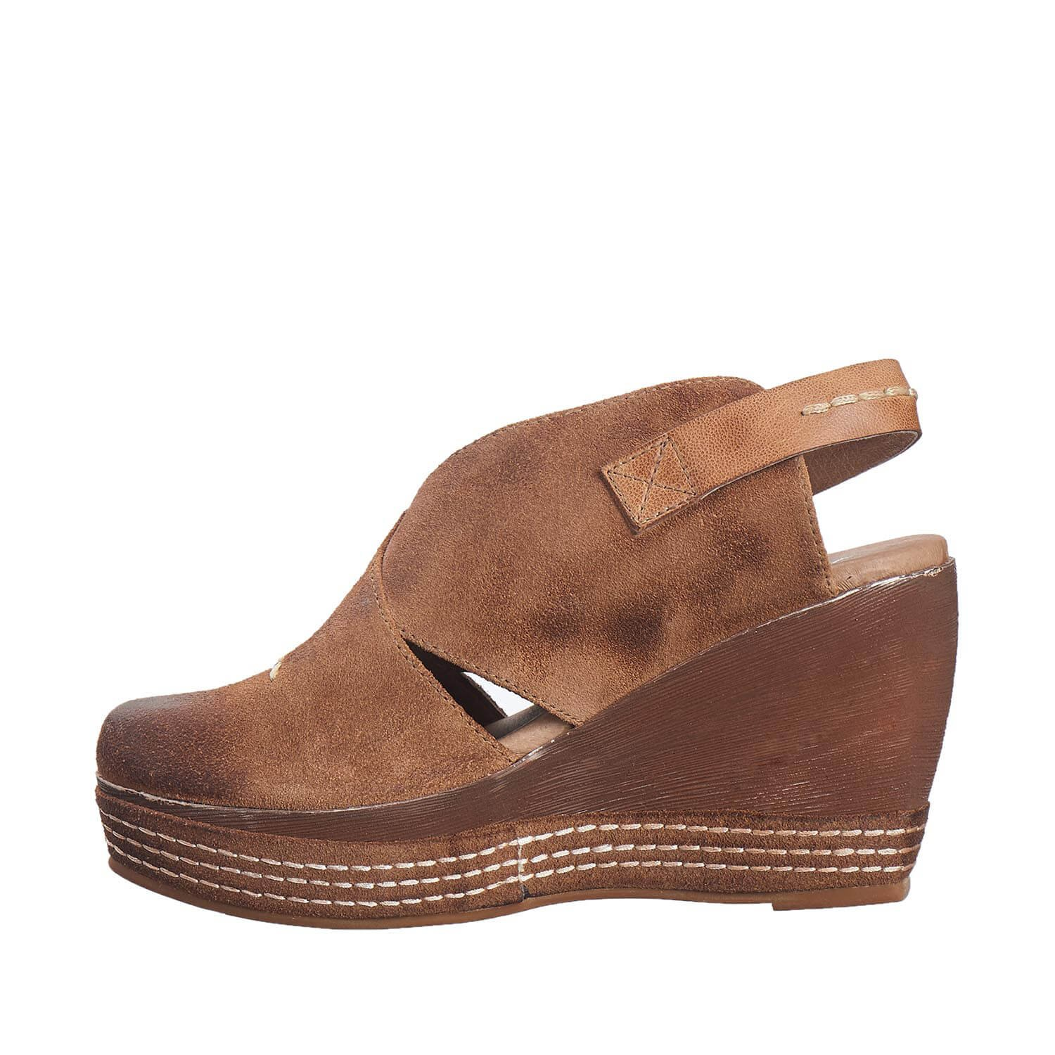 Antelope Women's 836 Taupe Suede Cutout Sling Wedge 38 by Antelope (Image #3)