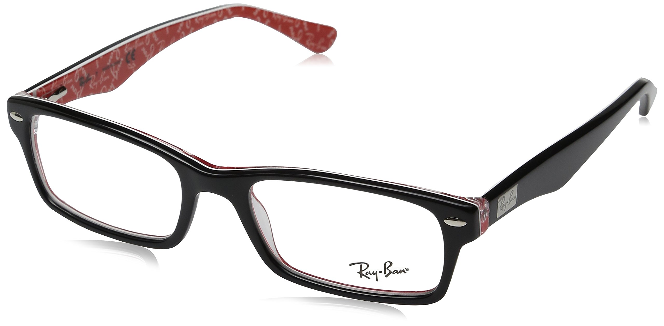 Ray-Ban Men's Rx5206 Rectangular Eyeglasses,Top Black & Texture Red,54 mm