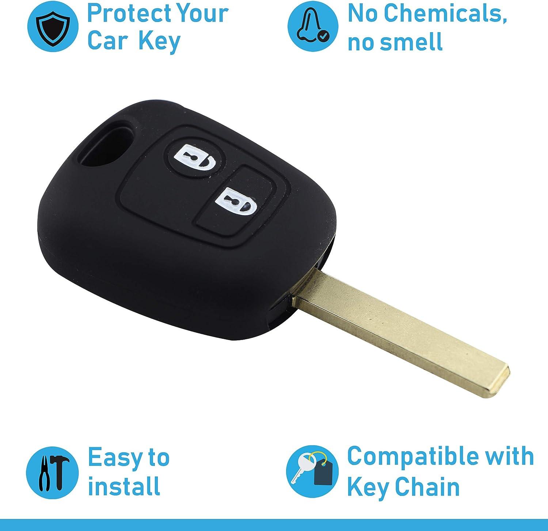ASARAH Couvercle de cl/é en Silicone Premium Compatible avec Peugeot Couvercle pour Type de cl/é 2BK Rose Couvercle de Protection pour cl/és de Voiture