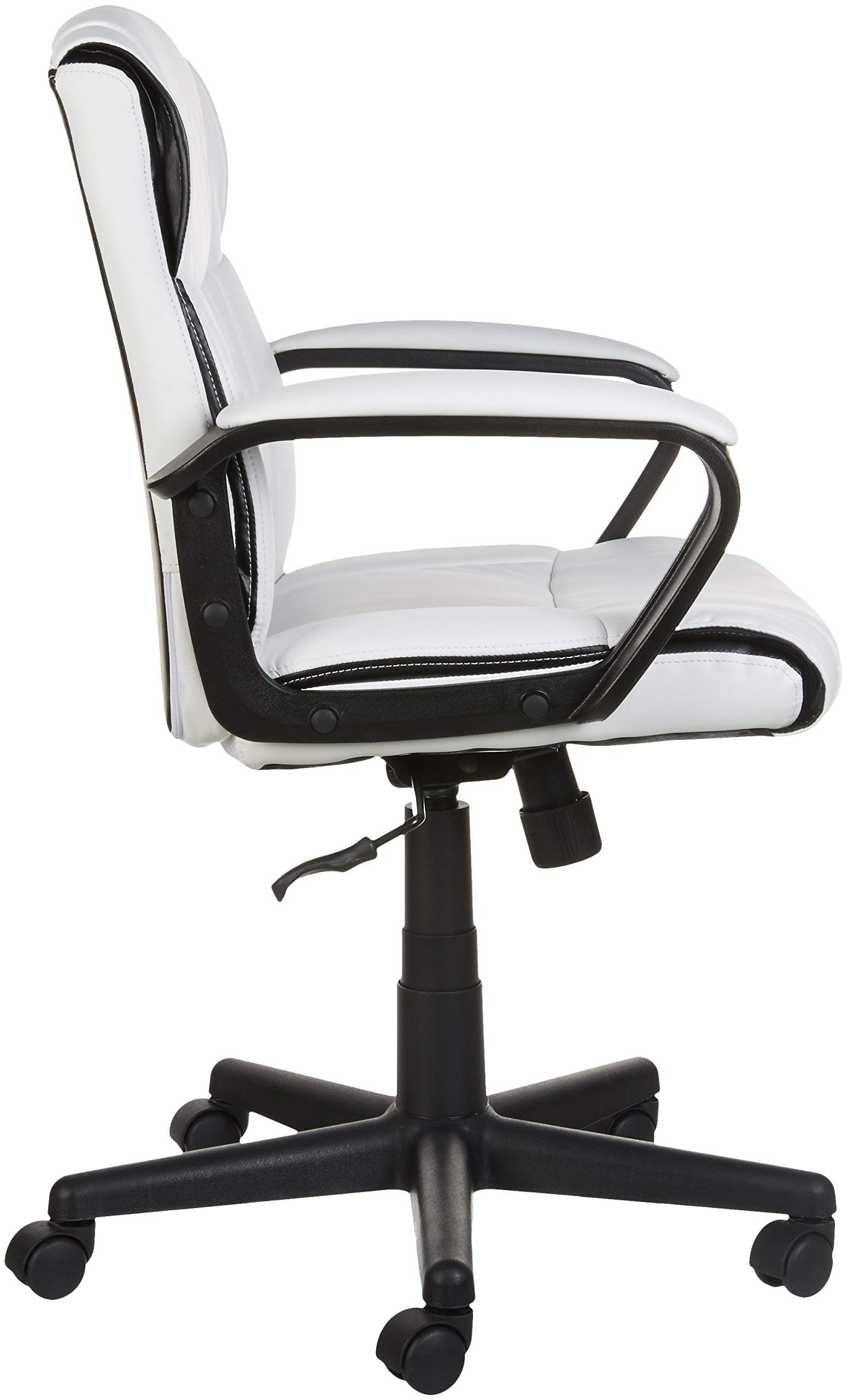 AmazonBasics Classic Leather-Padded Mid-Back Office Computer Desk Chair with Armrest - White by AmazonBasics (Image #5)