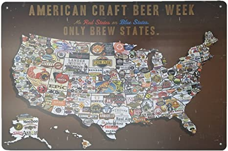 Us Map Made Out Of State Brewery Signs Amazon.com: DGZC Metal Signs American Flag Logo Retro Tin Sign