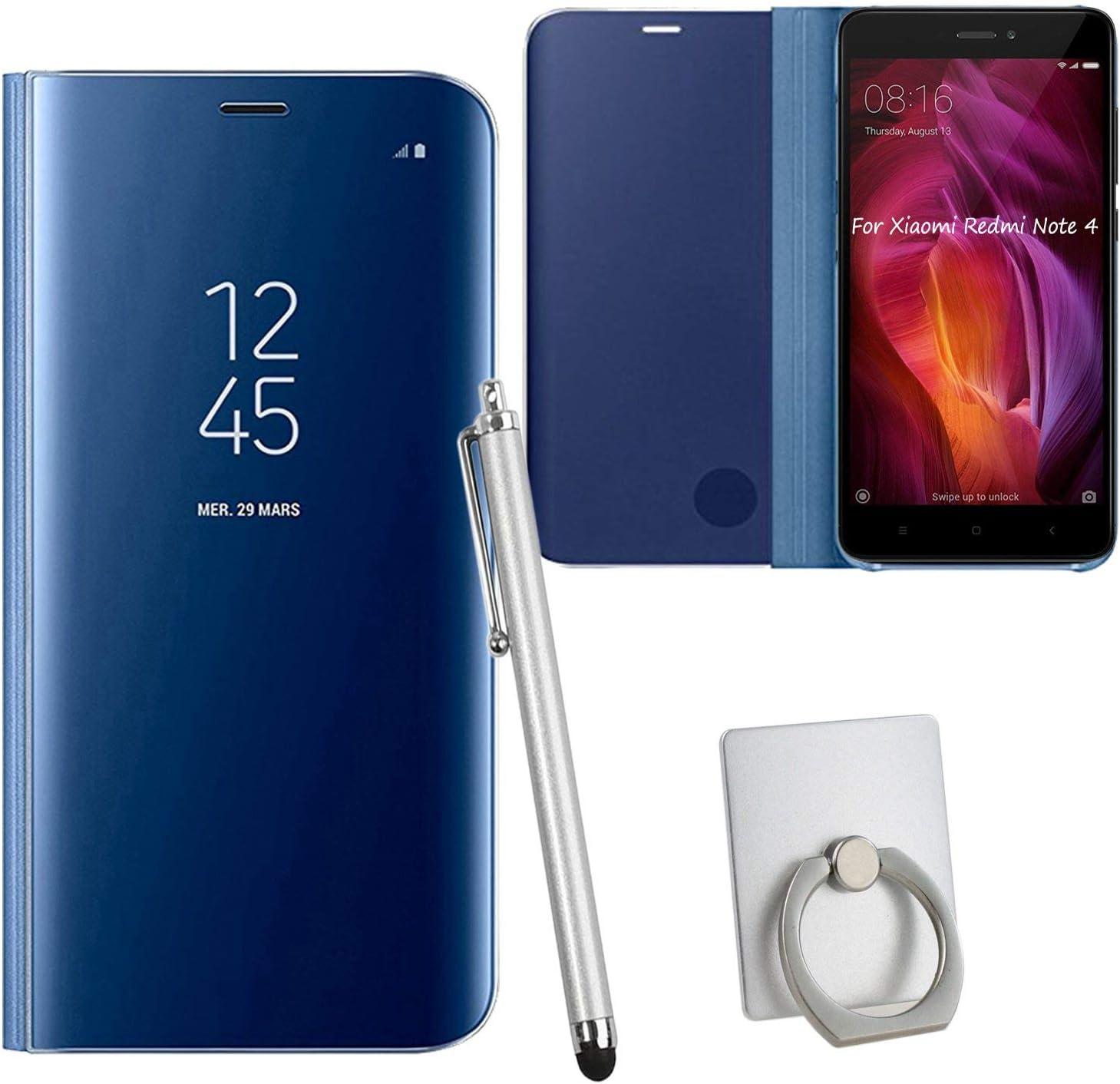 Guran® Mirror Efecto Espejo Funda para Xiaomi Redmi Note 4 Clear View Función de Soporte Plegable Smartphone Funda Protectora (Azul Oscuro): Amazon.es: Electrónica