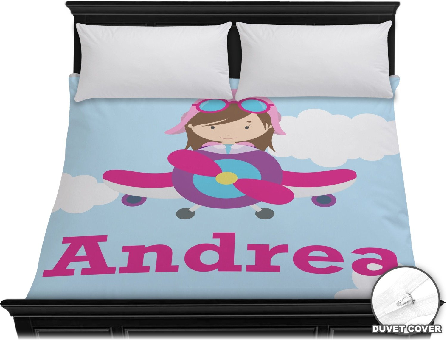 Airplane & Girl Pilot Duvet Cover - King (Personalized)