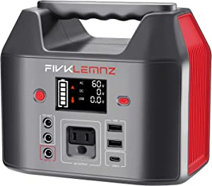 FIVKLEMNZ 200W Portable Power Station, 180WH Solar Generator, Backup Battery Power Supply 110V AC Outlet, 12V DC Ports, 3 USB Ports for CPAP Outdoors Travel Hunting Emergency