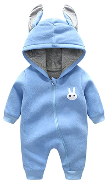 d9e582a1d Amazon.com  Baby Rompers Winter Thick Warm Baby Boy Cute Rabbit Long ...