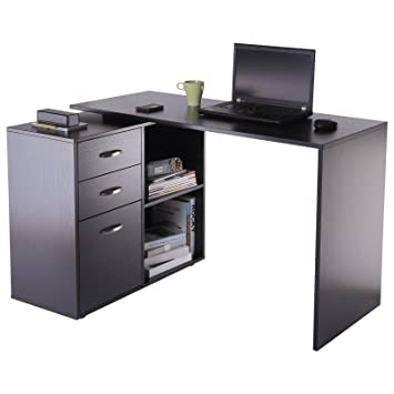 timeless design 208ea 4d8b3 HOMCOM Computer Desk Table Workstation Home Office L Shape Drawer Shelf  File Cabinet Black