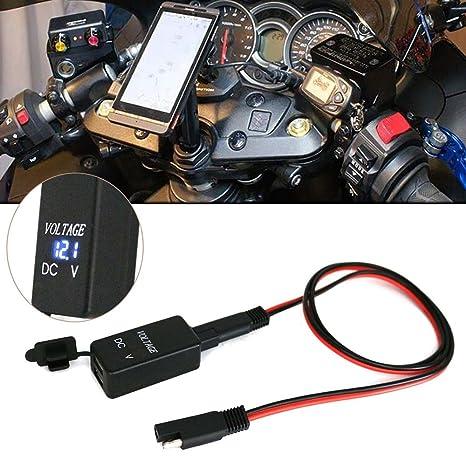 Anto nueva SAE A USB adaptador con voltímetro motocicleta desconexión rápida enchufe para Smart Phone Tablet