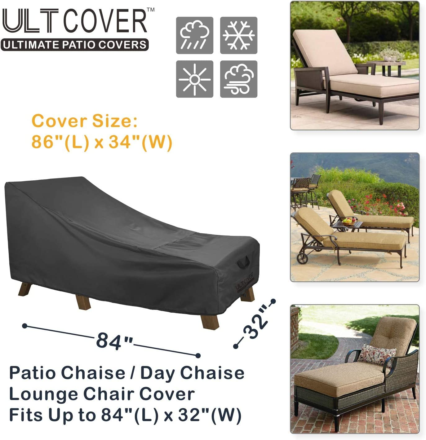 68L x 30W x 30H inch Black ULTCOVER Waterproof Patio Lounge Chair Cover Heavy Duty Outdoor Chaise Lounge Covers 2 Pack