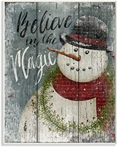 Stupell Home Décor Believe in Magic Snowman Wall Plaque Art, 10 x 0.5 x 15, Proudly Made in USA