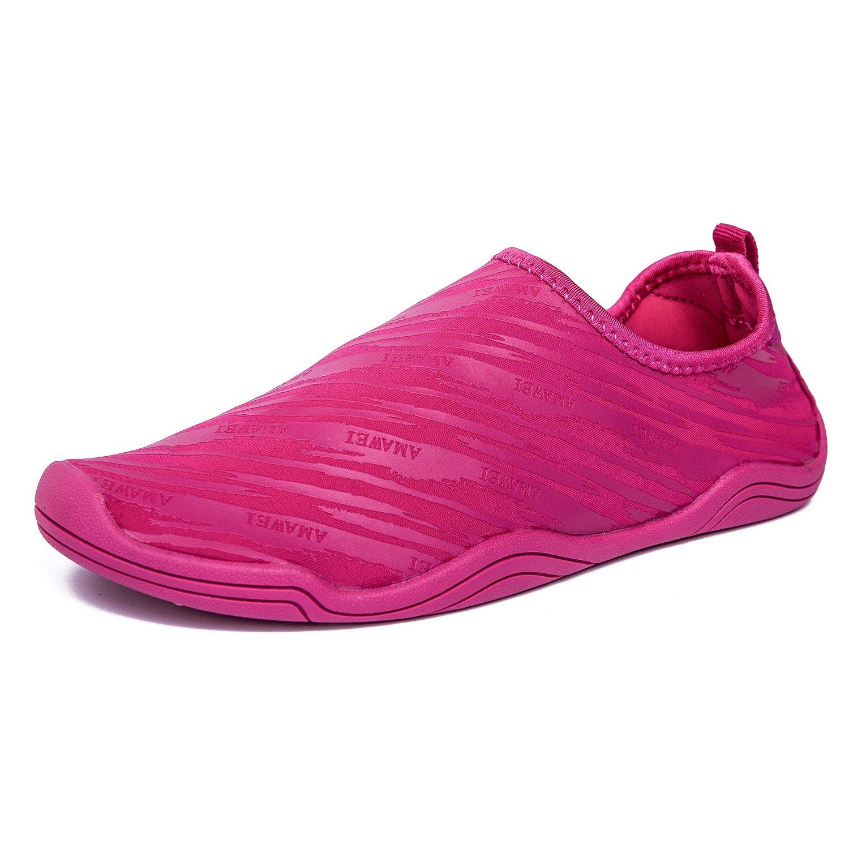 AMAWEI Men Women Water Shoes Barefoot Quick Dry Beach Swim Shoes Sports Aqua Socks Pool Surf Yoga Sailing Boating Walking Pool Aerobics (42, Rose Red)