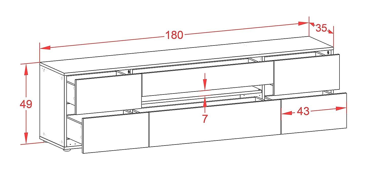 mit Push-to-Open Technik und Hochwertigen Leichtlaufschienen Korpus in Anthrazit Matt//Front im Rost Antik Industrie Design 180x49x35cm Made in Germany Stil.Zeit TV Schrank Lowboard Bjonda