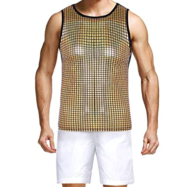 bc0023fddecf27 Agoky Men s Sleeveless Metallic Muscle T-Shirt Vest Tank Tops Night  Clubwear Gold Large