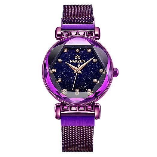 6755863a760d Rojo Dorado Morado) Reloj para Mujer NAKZEN Reloj de Cuarzo a Prueba ...