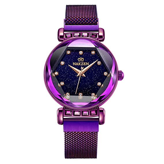 (Rojo/Dorado/Morado) Reloj para Mujer NAKZEN Reloj de Cuarzo a Prueba