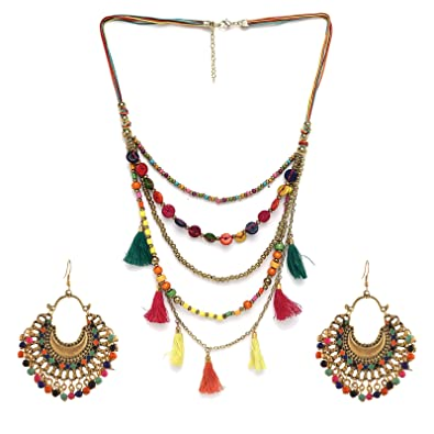 Ornamenta Necklace Fashion Boho Multicolor Beads Tassels Multistrand For Women eCQPJXA