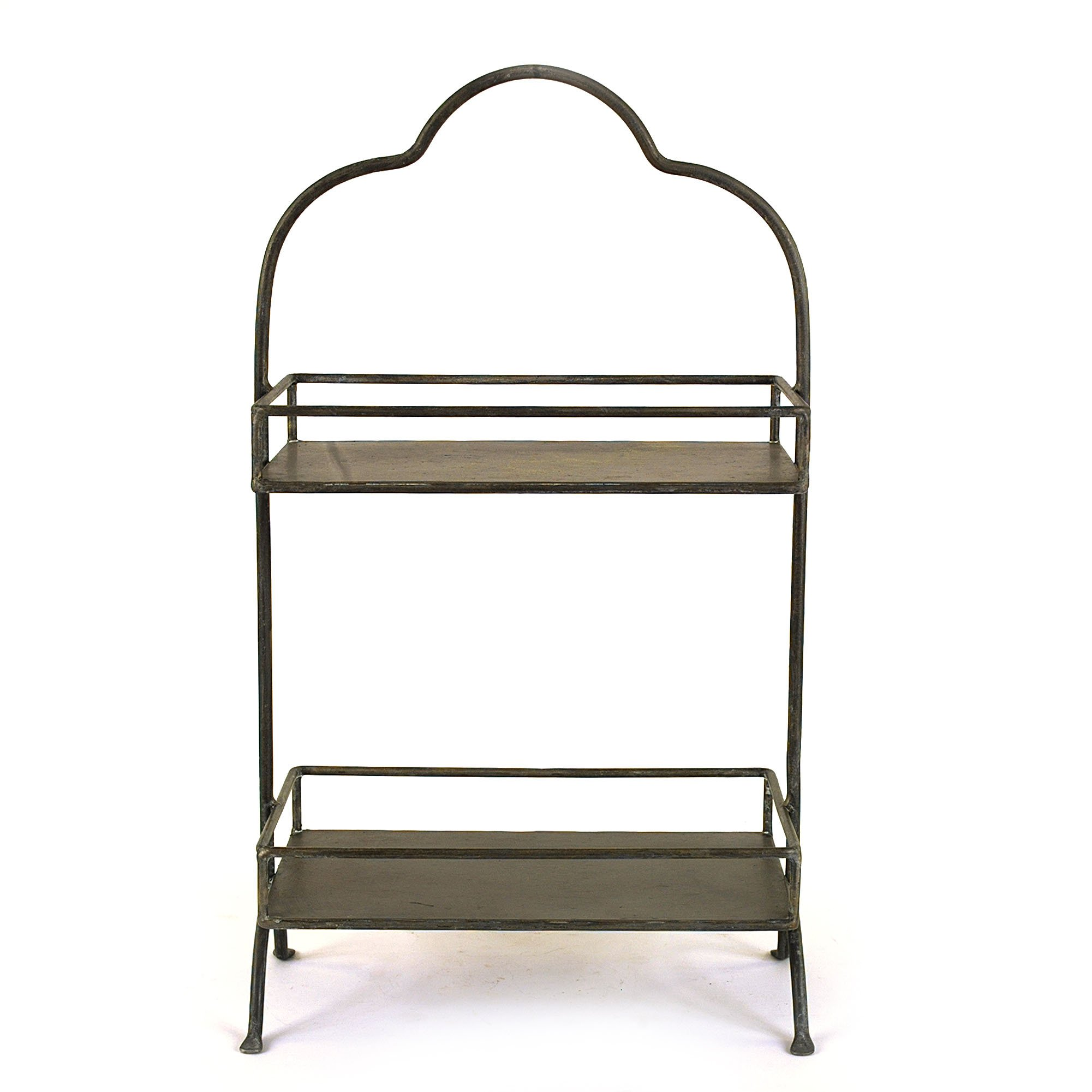 """Creative Co-Op Decorative Metal Two Tier Tray with Handle, 10.6"""" L x 5.9"""" W x 17.9"""" H"""