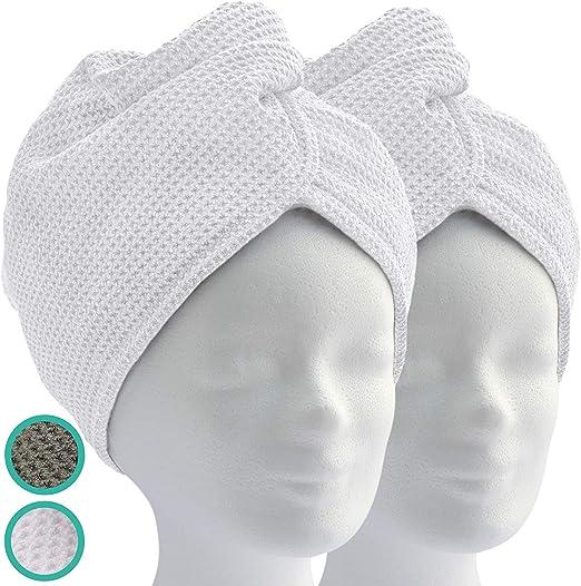 2 pi/èces Blanc Alpin Serviette Turban avec Bouton Serviette en Microfibre pour la t/ête et Les Cheveux Longs NoBrand Turban pour Cheveux