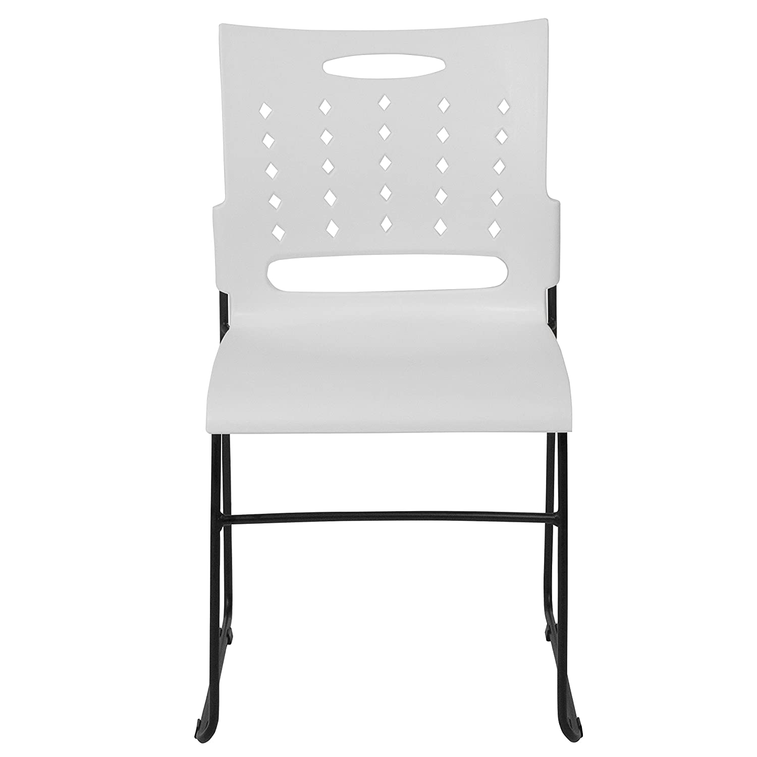 Capacity Black Sled Base Stack Chair with Air-Vent Back Flash Furniture HERCULES Series 881 lb