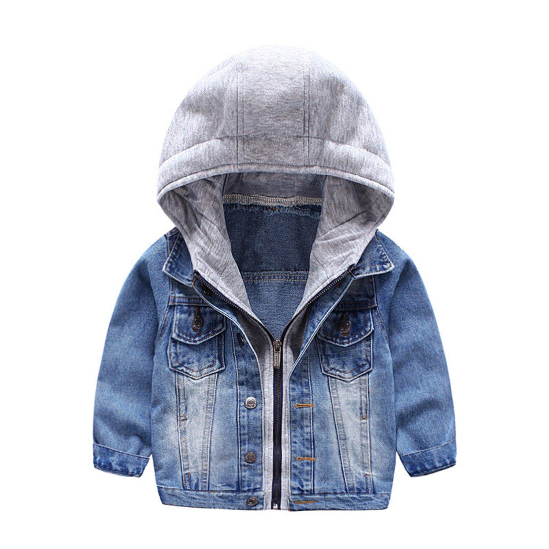 HUMMIJA Kids Boys Spring Fall Denim Hooded Coat Lapel Zipper Denim Jacket Outerwear (Blue, 2-3 Years)