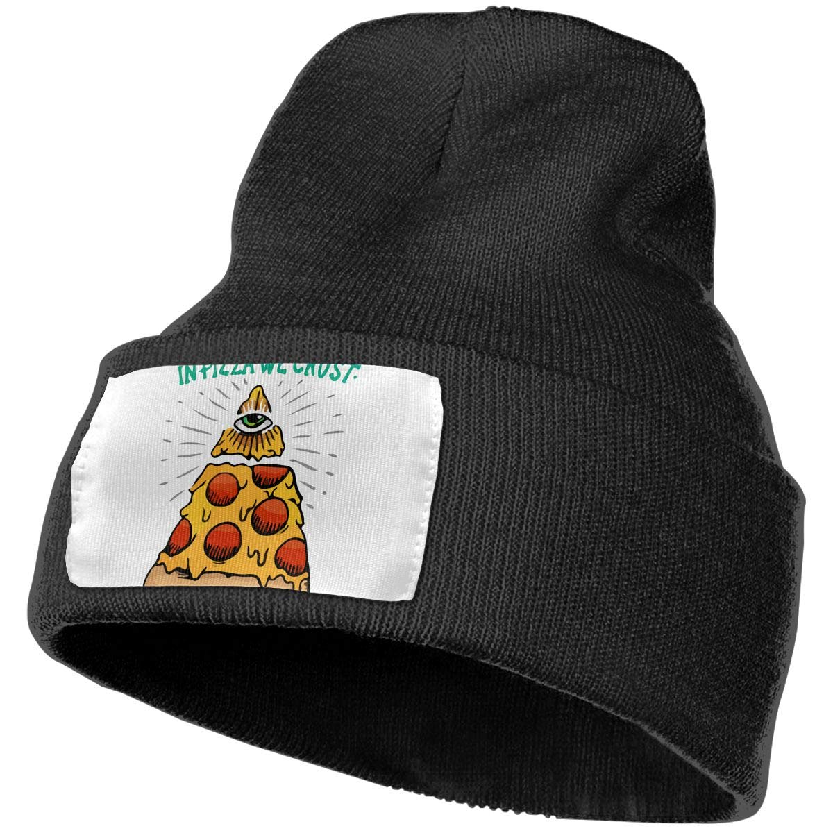 in Pizza We Crust Unisex Fashion Knitted Hat Luxury Hip-Hop Cap