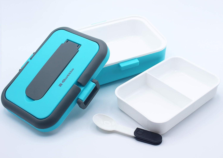 Haioo Fiambrera Térmica 750ml con Cuchara Plegable Fiambrera de Alimentos Portátil Tape Fiambreras Bento PP + Acero Inoxidable para Oficina Hogar Escuela (Azul)