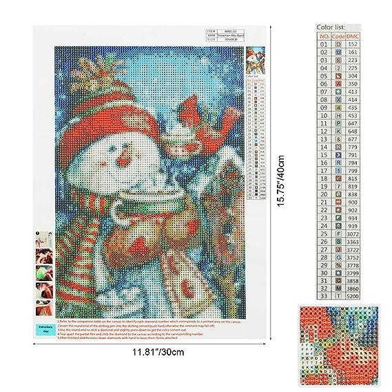 MWOOT 5D DIY Monigote de Nieve Diamond Painting Kits,Christmas 5D ...
