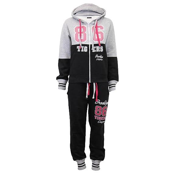 Womens Ladies Girls Hooded Fleece Jogging Full Tracksuit Top Bottom Size 8-24