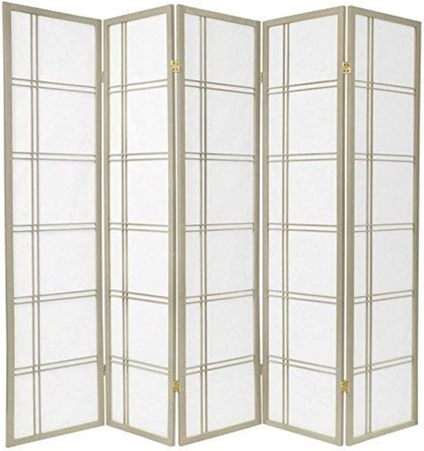 Oriental Furniture 6 ft. Tall Double Cross Shoji Screen - Special Edition - Grey - 5 Panels