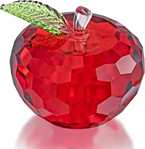 H&D HYALINE & DORA Austrian Crystal Big Apple Decorations Paperweight Craft Fengshui Apple Figurines for Home