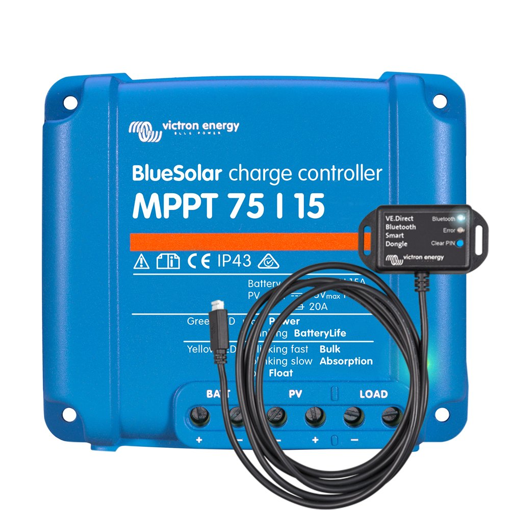 Victron BlueSolar 75 15 MPPT Charge Controller with VE.Direct Bluetooth Dongle