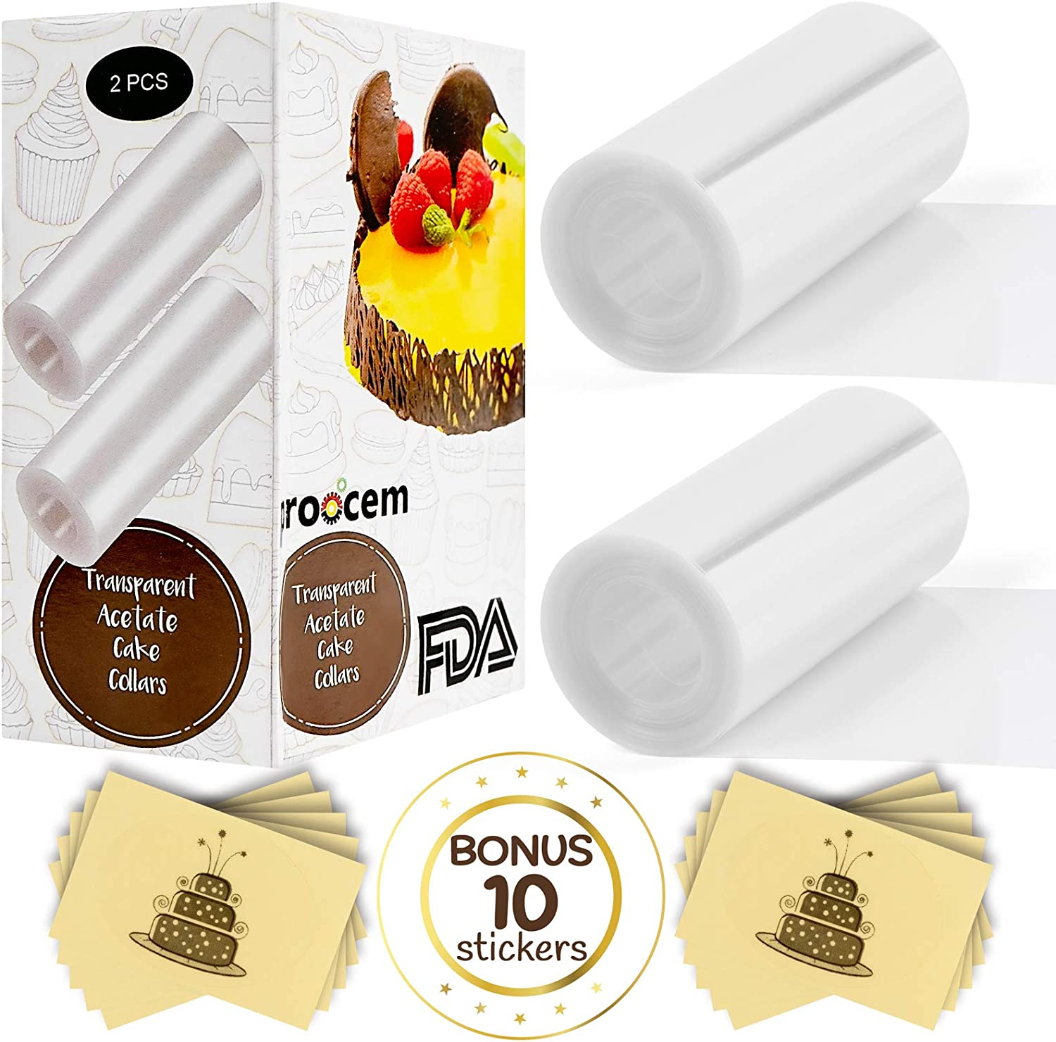 Cake Collar Acetate Rolls Set - 2 Cake Collars Surrounding Edge Clear Sheets Wrap Large Tape 4 x 275 inch and 10 Paper Self-Adhesive Stickers Set for Cake Decorating Chocolate Mousse Baking Food