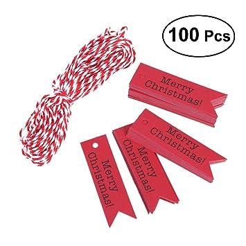 Etiketten Frohe Weihnachten.Oulii 100pcs Papier Tags Craft Tags Frohe Weihnachten Hängen Etiketten Lesezeichen Rot