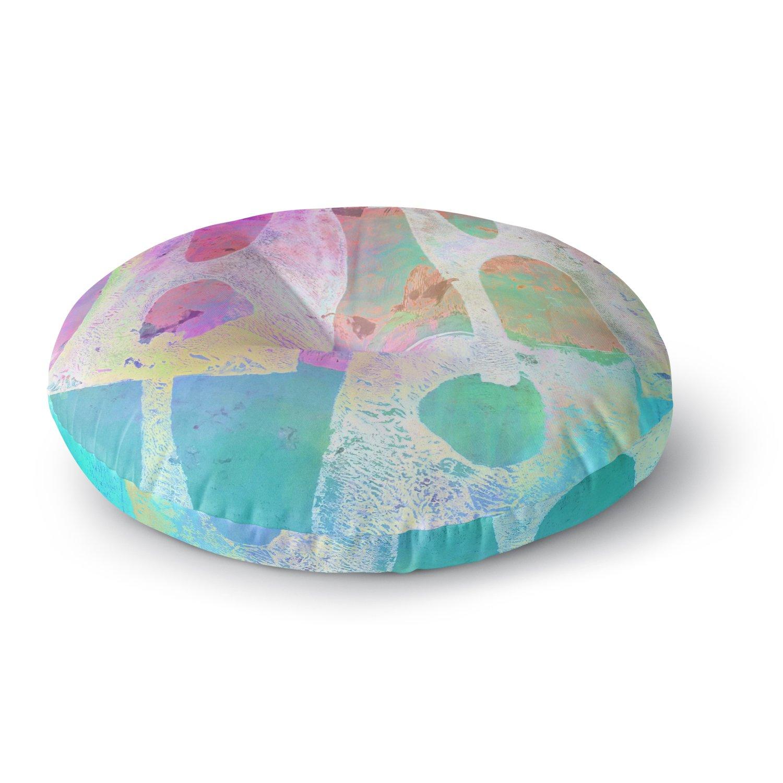 Kess InHouse AlyZen Moonshadow Villi Teal Purple Round Floor Pillow 26' AM1031ARF02