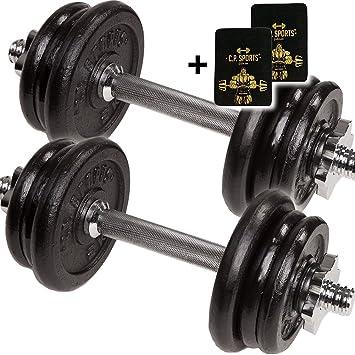 C.P. Sports mancuernas de hierro fundido 20 kg cortas, mancuernas mancuernas de 2 x barras de pesas con pesas (+ Mango acolchado: Amazon.es: Deportes y aire ...