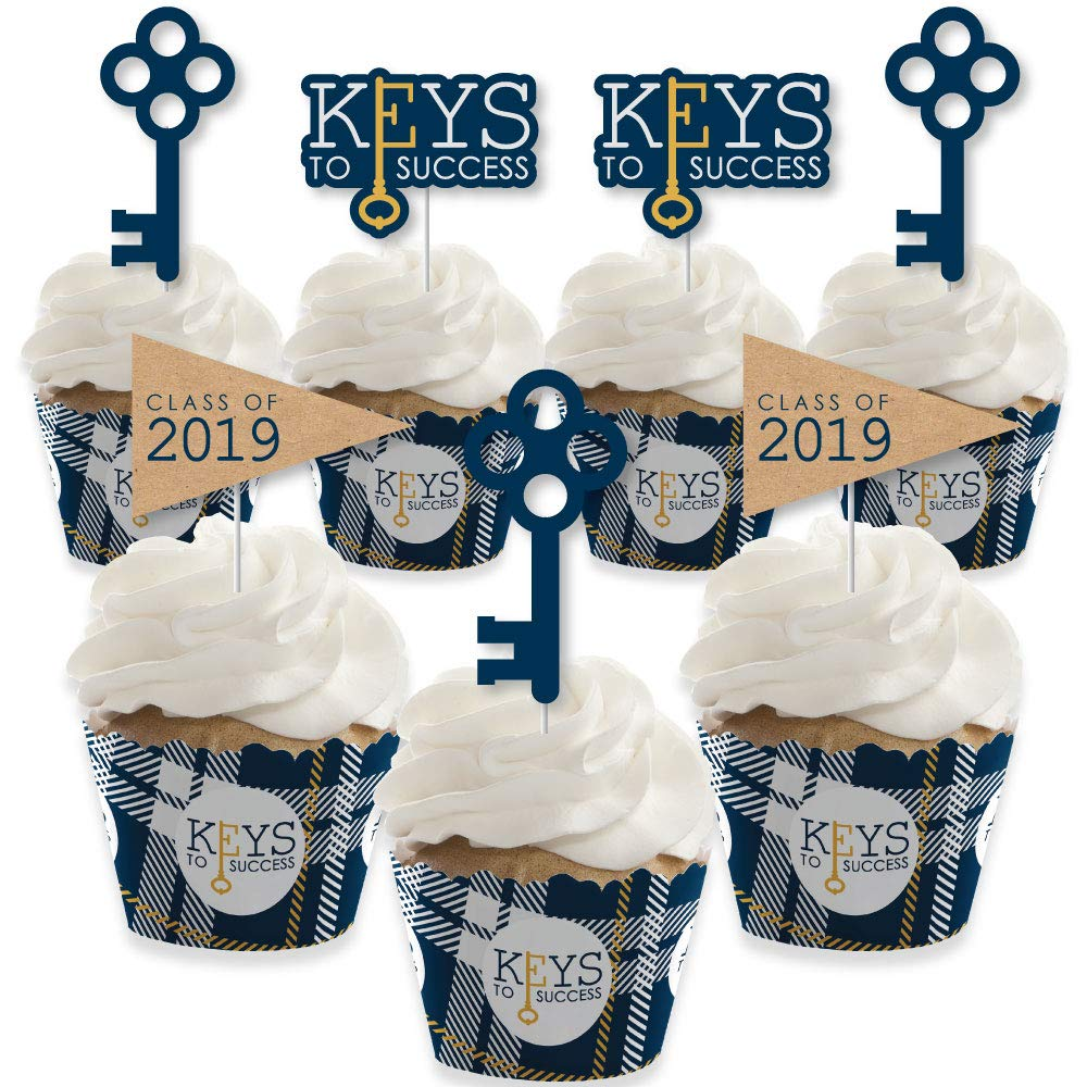 Grad Keys to Success - Cupcake Decoration - 2019 Graduation Party Cupcake Wrappers and Treat Picks Kit - Set of 24